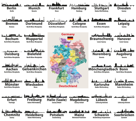 Germany map with largest cities skylines silhouettes vector set