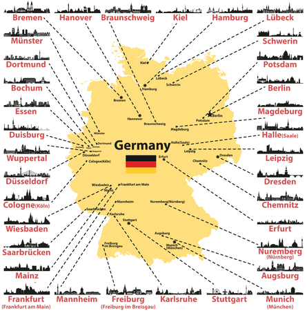 Germany vector map with states and capitals skylines silhouettes on white background