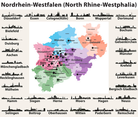 Germany state North Rhine-Westphalia high detailed vector map with largest cities skylines silhouettes