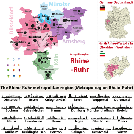 The Rhine-Ruhr metropolitan region vector map with the largest cities skylines silhouettes