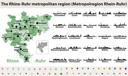 Rijn-Ruhr metropolitam gebied vector kaart met silhouetten van de grootste steden skylines Stockfoto - 99936732