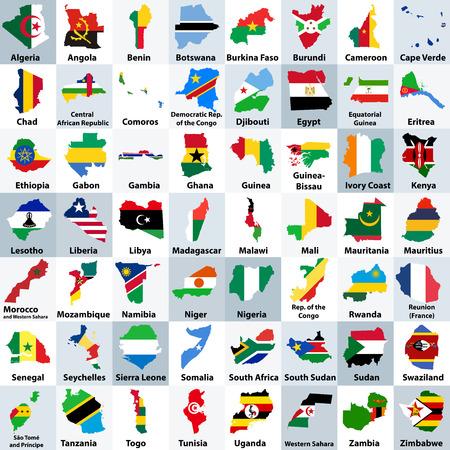 すべてのアフリカ諸国は国旗と混合され、アルファベット順に並べられた地図