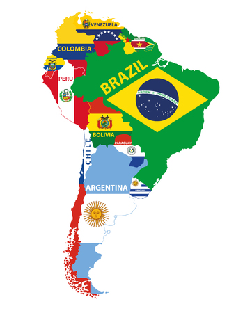 South America map mixed with countries flags. Vector illustration