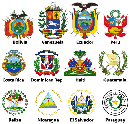 Coat of arms icons of Central and South American countries Illustration