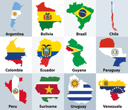 Maps with flags of the independent countries of South America design Illustration