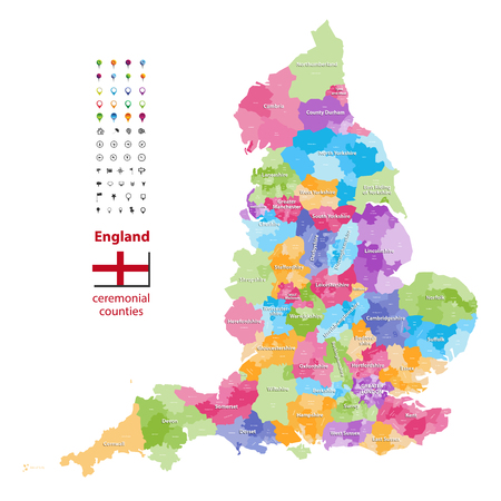 vector map of England. Flag of England. Navigation and location icons 矢量图像