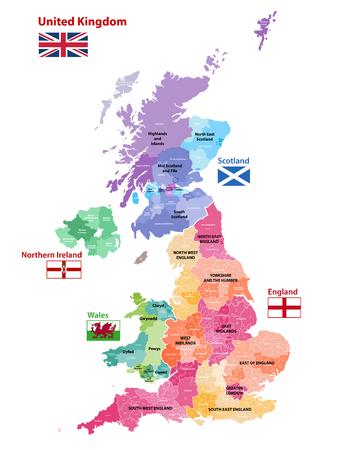 Mapa wektorowa Wielkiej Brytanii pokolorowana według krajów, powiatów i regionów