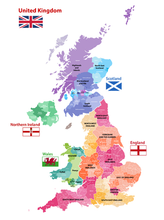 vector map of United Kingdom colored by countries, counties and regions 版權商用圖片 - 99915568