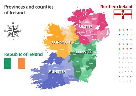 Provinces and counties of Ireland Stock Illustratie