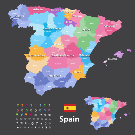 Autonomous communities and provinces vector map of Spain. Navigation, location and travel icons