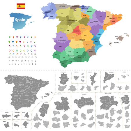 Spain map (colored by autonomous communities) with administrative divisions