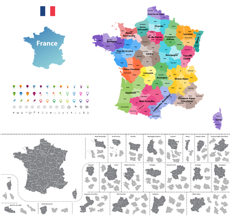 France map colored by regions