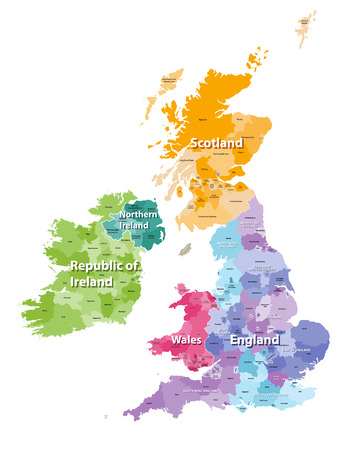 British Isles map colored by countries and regions Ilustração