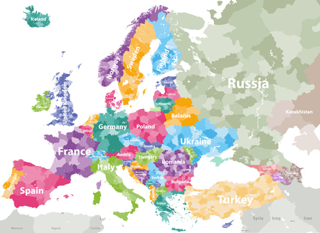High detailed colored political map of Europe with countries' regions. Illustration