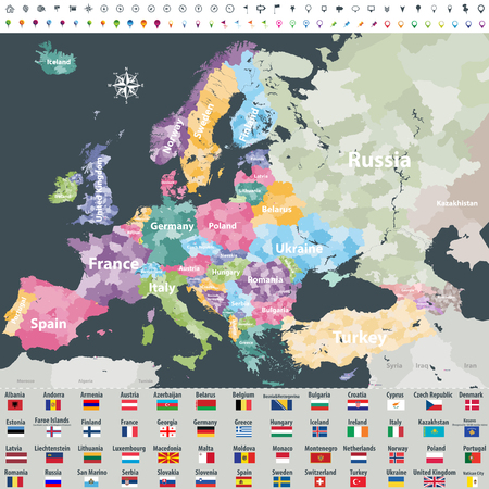 Map of Europe. Flags of all european countries. Navigation, location and travel icons. All elements separated in labeled and detached layers. Vector Stockfoto - 99913730