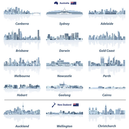 Vector set of Australian and New Zealand city skylines in gray scales color palette