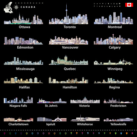 Canadian largest cities and all states capitals skylines in bright color palettes with map and flag of Canada