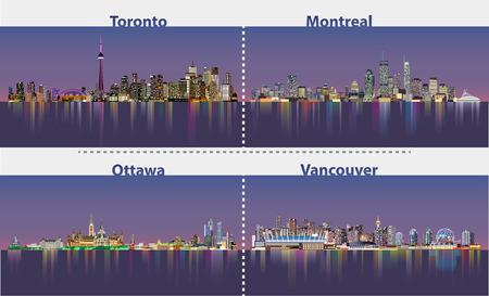 Abstract illustrations of urban canadian city skylines at night Иллюстрация