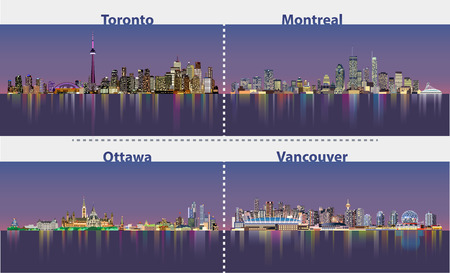 Abstract illustrations of urban canadian city skylines at night Illustration