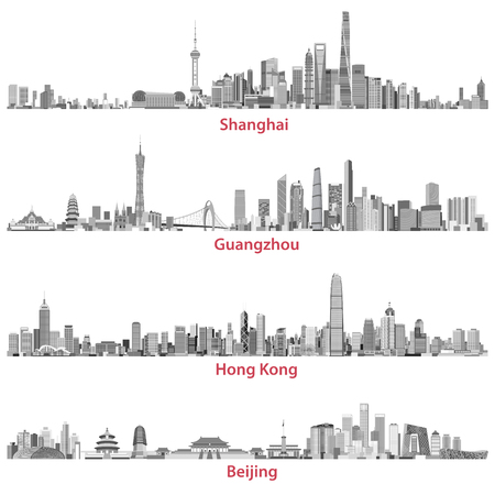Abstract illustrations of Shanghai, Hong Kong, Guangzhou and Beijing skylines Reklamní fotografie - 99923250