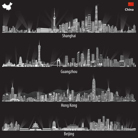 Abstract illustrations of Shanghai, Hong Kong, Guangzhou and Beijing skylines Stock Illustratie