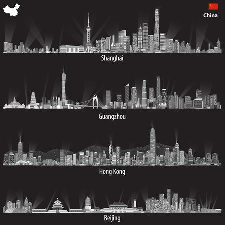 Ilustraciones abstractas de los horizontes de Shanghai, Hong Kong, Guangzhou y Beijing