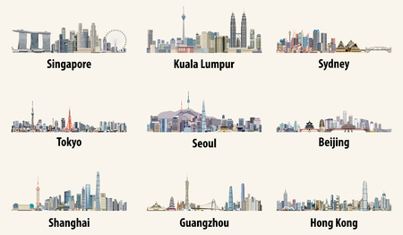 Abstract vector illustrations of Singapore, Kuala Lumpur, Sydney, Tokyo, Seoul, Beijing, Shanghai, Guangzhou and Hong Kong skylines Çizim