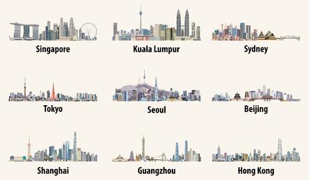 Illustrazioni vettoriali astratte degli skyline di Singapore, Kuala Lumpur, Sydney, Tokyo, Seul, Pechino, Shanghai, Guangzhou e Hong Kong
