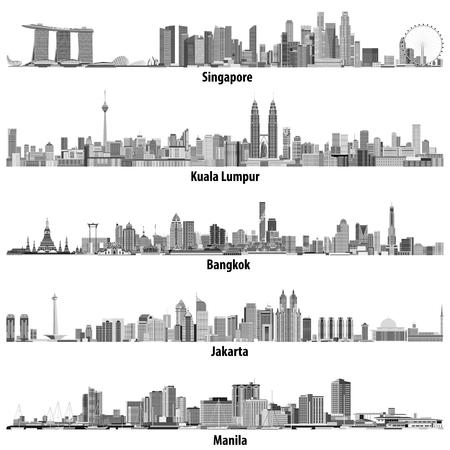 abstrakte Vektor-Illustrationen von asiatischen Städten (Singapur, Kuala Lumpur, Bangkok, Jakarta und Manila) Skylines in Schwarz-Weiß-Farbpalette