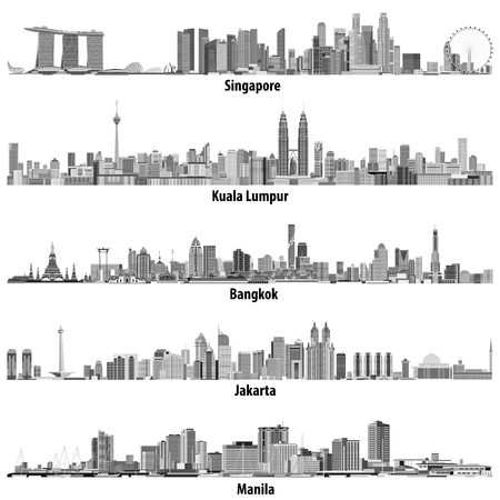 abstract vector illustrations of asian cities (Singapore, Kuala Lumpur, Bangkok, Jakarta and Manila) skylines in black and white color palette