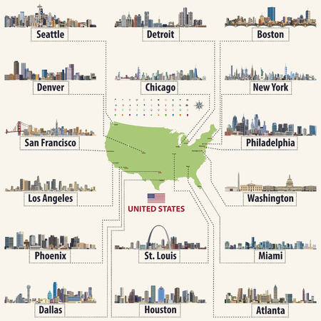 Vector map of United States of America with largest cities' skylines