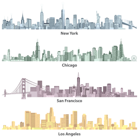 abstract colored illustrations of urban United States of America skylines 일러스트