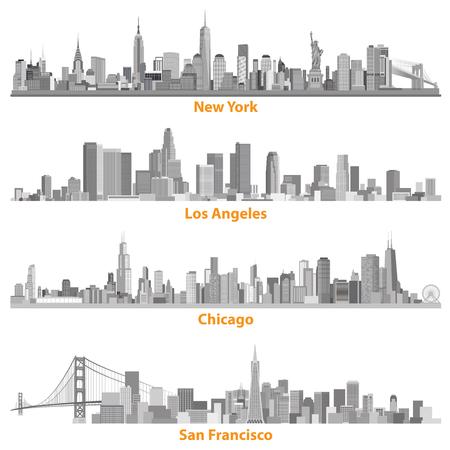 グレースケールでニューヨーク、シカゴ、ロサンゼルスとサンフランシスコのイラストの都市のセット  イラスト・ベクター素材