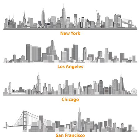 set of urban cities of New York, Chicago, Los Angelews and San Francisco illustrations in gray scales