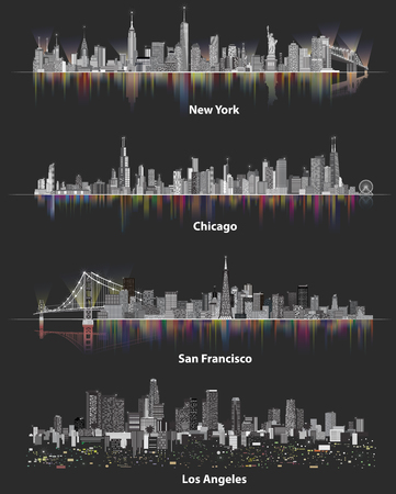 abstract illustrations of urban United States of America city skylines at night on soft dark background Vectores