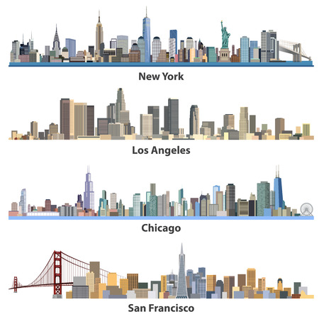 Set of abstract United States urban city illustrations Vettoriali