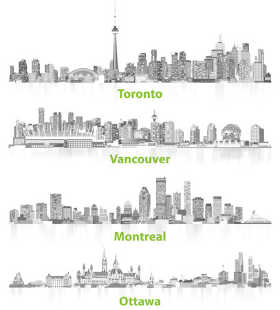 illustrations of canadian urban city skylines in gray scales on white background