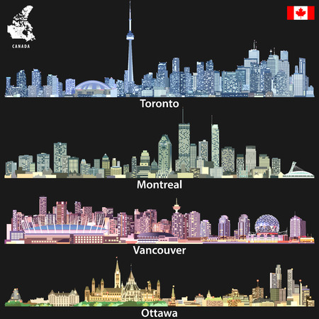 illustrations of canadian urban city skylines in bright color palette