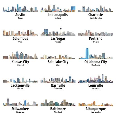 vector collection of united states cities skylines icons