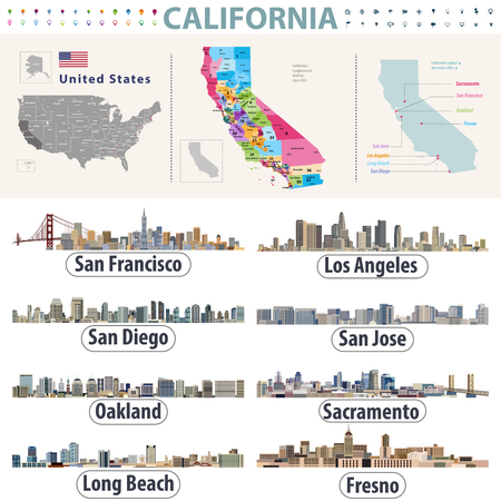 Californias vector high detailed map showing counties formations. Skylines of major cities of California Illustration