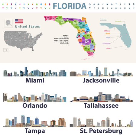 Florida's congressional disctricts vector map with cityscapes of capital and major cities of Florida