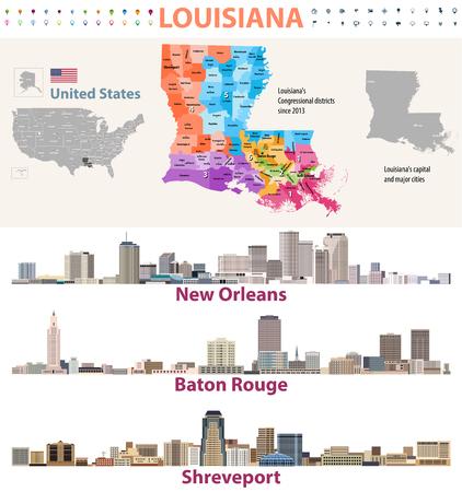 Carte vectorielle des distrcits du Congrès de la Louisiane avec les horizons des grandes villes