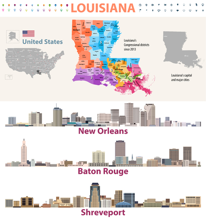 Louisianas Congressional distrcits vector map with major cities skylines Illustration