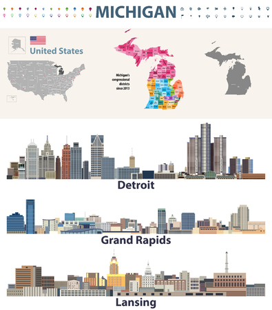 Michigans congressional districts map with capital and major cities skylines of Michigan. Vector illustration
