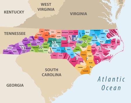 vector map of North Carolina Ilustração