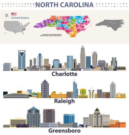 vector congressional regions map and major cities skylines of North Carolina