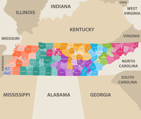 Tennessee vector congressional distrcits map with possible states 스톡 콘텐츠 - 103821560