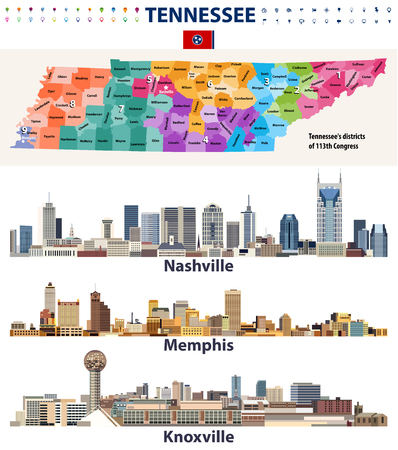 vector congressional regions map and major cities abstract skylines of Tennessee state