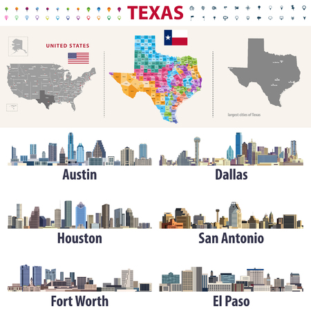 Texass vector high detailed map showing counties formations. Largest cities skylines of Texas