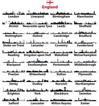 Kolekcja wektor sylwetki na tle nieba dużych miast w Anglii